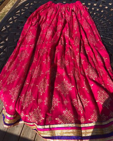 Hot Pink Pure Cotton Full Length Skirt