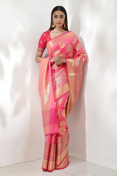 PINK BLENDED KATAN SILK SAREE WITH ZARI