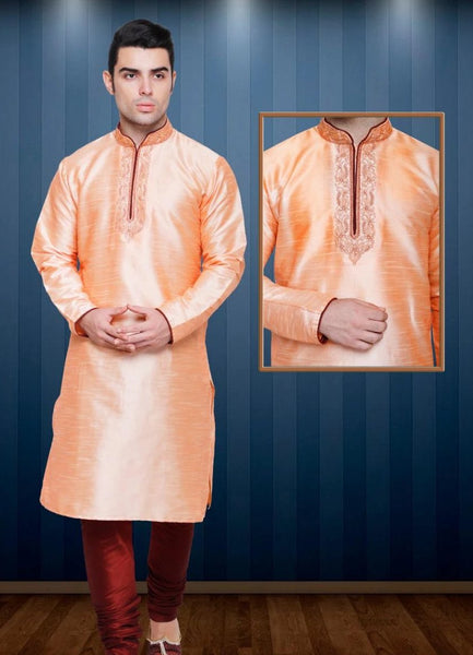 Light Peach Colored Dupion Silk Mens Kurta Pajama Set