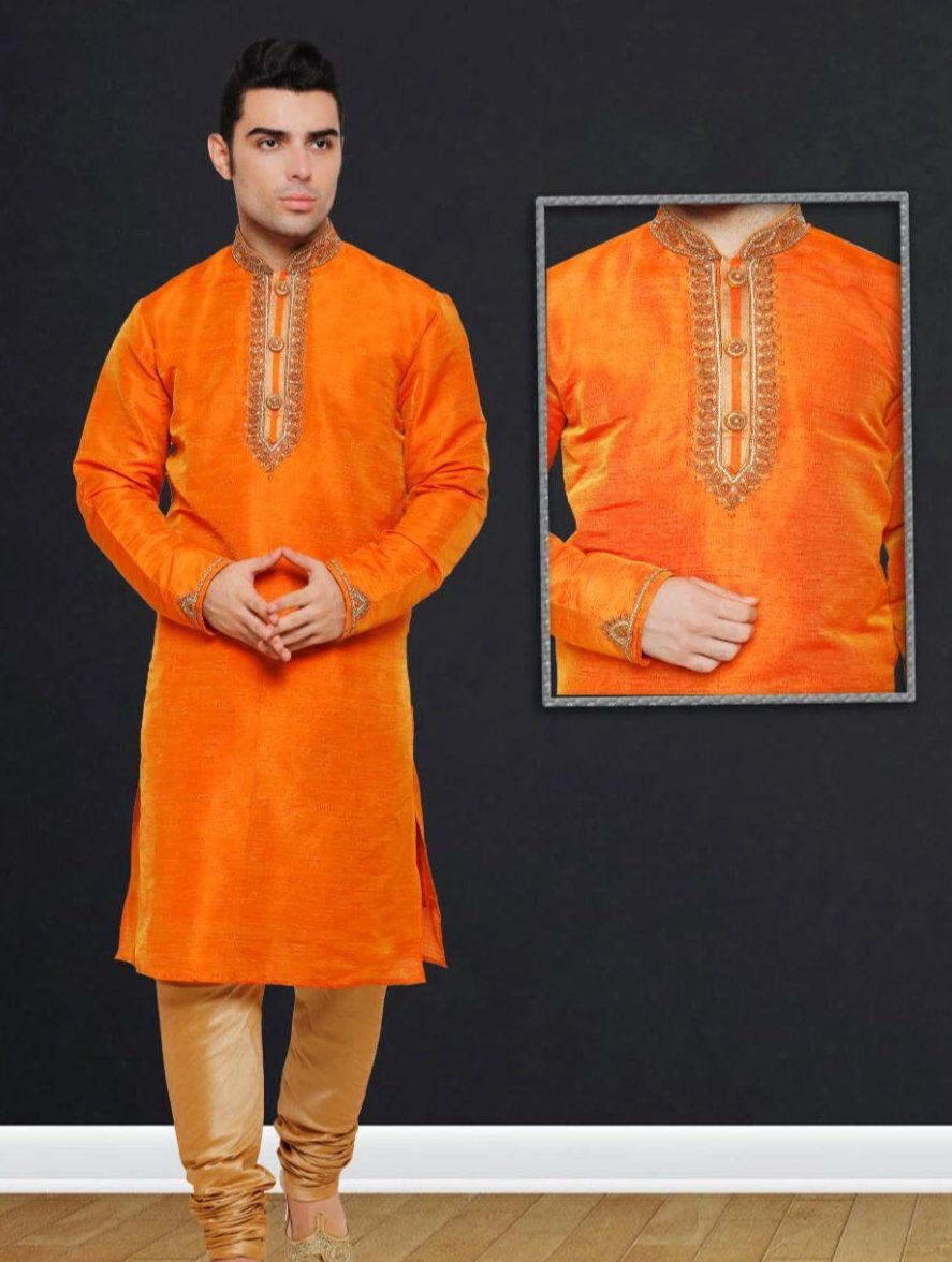 Orange Colored Dupion Silk Mens Kurta Pajama Set