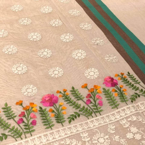 Beige Embroidered Handloom Saree with a Floral Embroidery