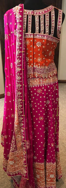 Rani Pink and Orange Zardosi Heavy work Lehenga Choli with 2 Blouses