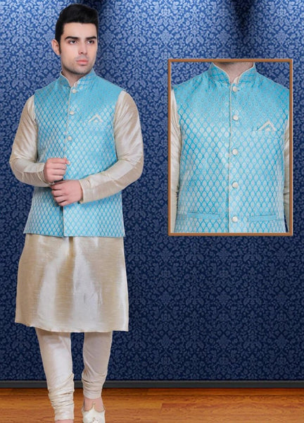 Mens Off White Color Silk Kurta Pajama With Printed Nehru Jacket