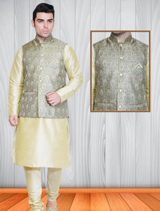 Mens Cream Color Silk Kurta Pajama With Printed Nehru Jacket