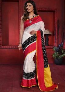 WHITE CHANDERI SAREE WITH IKAT COMBINATION