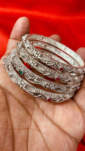 Pure German Silver Bangles with Red and Green Stone