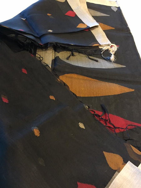 Handloom Pure Silk Jamdani Saree in Black