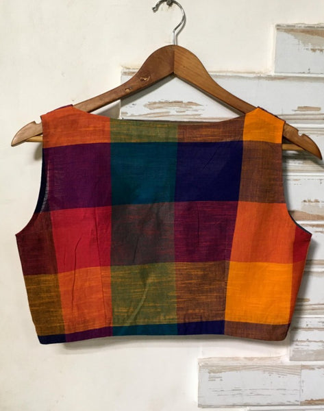 Rainbow Colored Cotton Sleeveless Blouse