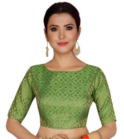 Bottle Green Dupion Silk Stitched Elbow Length Readymade Blouse