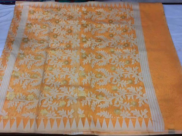 Orange Jamdani Saree With All Over Golden Zari Work