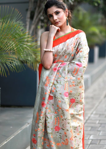 EMBROIDERED SILK LINEN SAREE