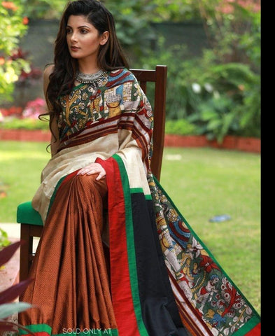 HAND PAINTED KALAMKARI & KHUN COMBINATION SAREE WITH TUSSAR SILK