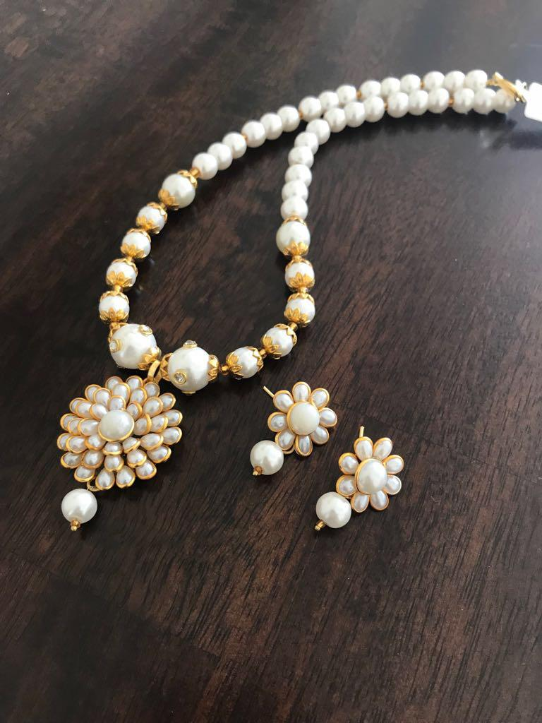 White Pearl Studded Long Necklace Set with Matching Earrings