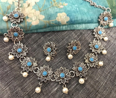 Blue Stone Studded German Silver Necklace Set with Matching Earrings