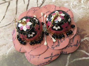 Antique Black & Pink Hand Painted Earrings