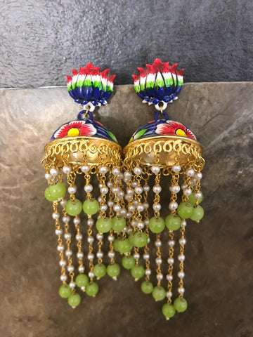 Red & White & Green & Blue Hand Painted Kundan Earrings with Lime Green Beads