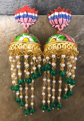 Red & White & Green & Blue & Pink Hand Painted Kundan Earrings with Deep Green Beads