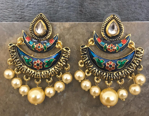 Designer Multi Colored Hand Painted Kundan Jhumka Earrings with Pearls