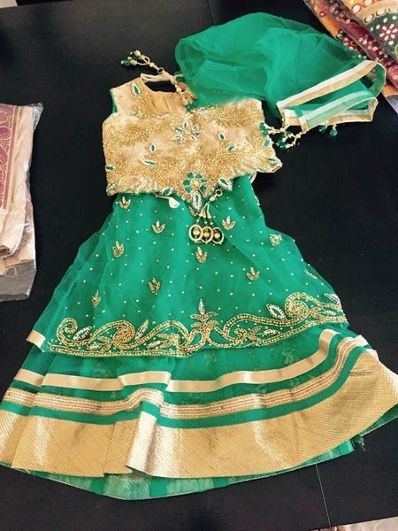 Green and Beige Lehenga Set for Little Toddler Girls