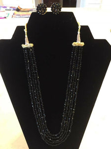 Black 5 Layer Garnet/Onyx Necklace with Earrings