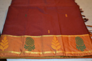 Maroon South Silk Saree With Iridescent Green Pallu