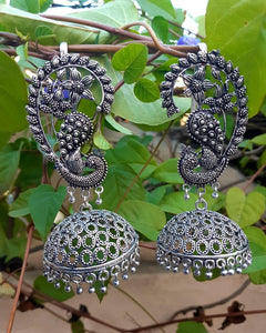 German Silver Big Designer Earrings with Jhumkas