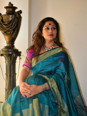 Teal Blue Handwoven Pure Silk Cotton Saree