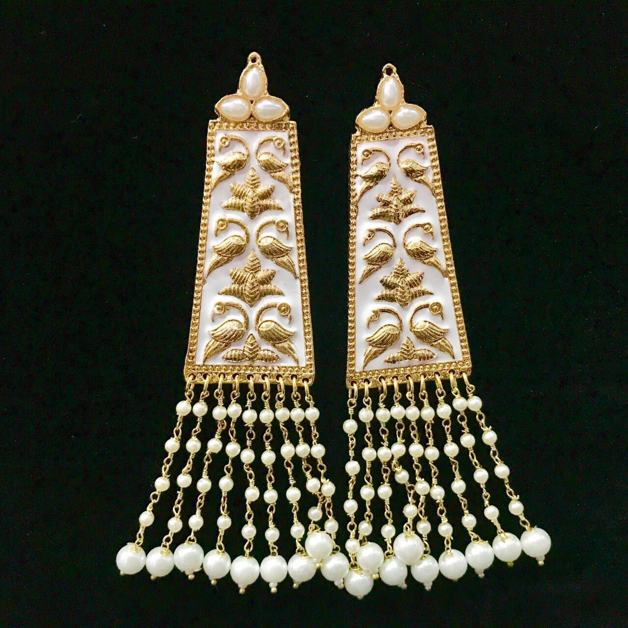 White Hand Painted Enameled Earrings with White & White Colored Pearls