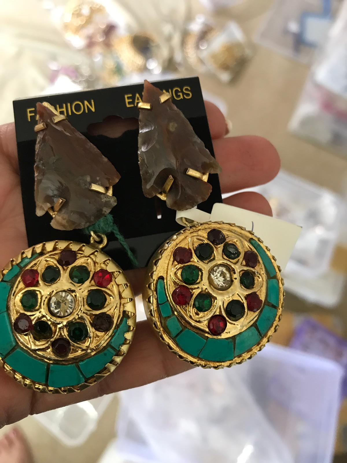Antique Gold Colored Earrings with Multi Colored Stones