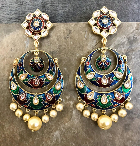 Gold Plated White & Red & Blue & Green Hand Painted Kundan Earrings with White Pearls