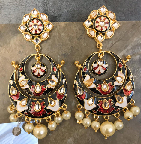 Gold Plated Black & Red & Cream Hand Painted Kundan Earrings with White Pearls