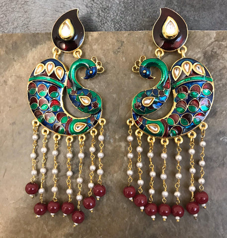 Multi Colored Hand Painted Peacock Design Kundan Earrings with Red Beads