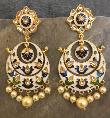 White, Blue & Green Hand Painted Kundan Earrings with White Beads