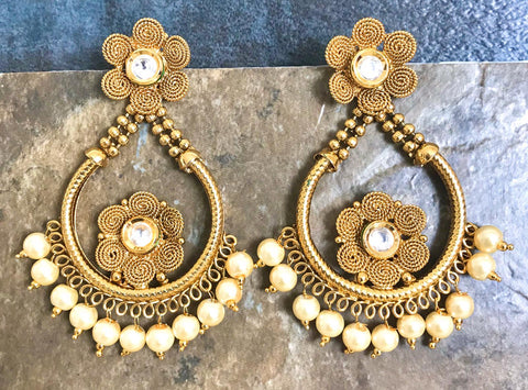 Designer Kundan Pearl Earrings with White Stones