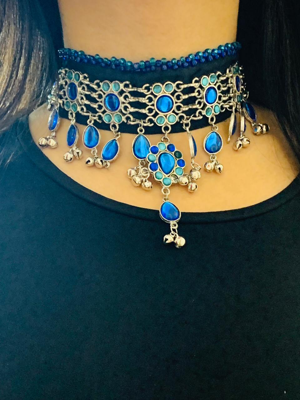 German Silver & Blue Stone Studded Necklace
