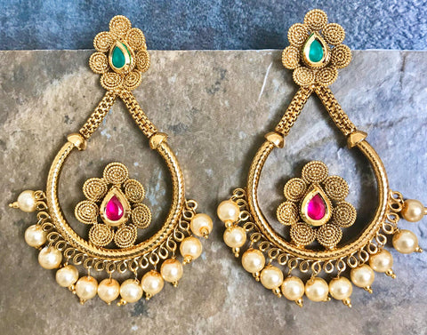 Designer Kundan Pearl Earrings with Pink & Green Stones