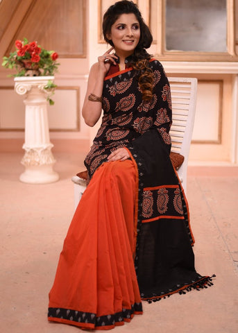 EXCLUSIVE BLOCK PRINTED AJRAKH & RUST CHANDERI PLEATS COMBINATION SAREE