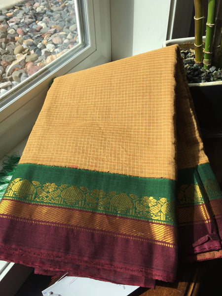 Coffee Colored Cotton Gadhwal Saree