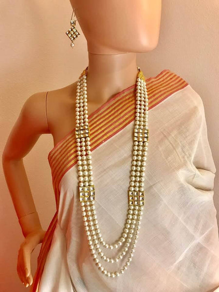 3 Strand High Quality Kundan And Pearl Necklace Set