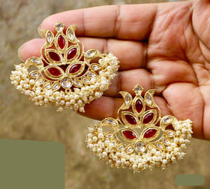 Gorgeous Red Gold Plated Kundan Earrings with White Pearls & Red Semi Precious Stones