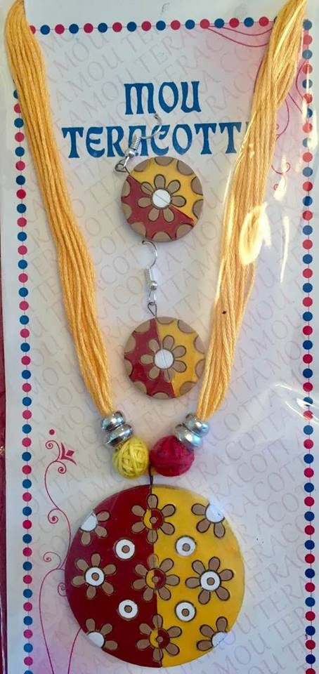 Red & Yellow Terracotta Necklace And Earrings Set