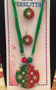 Green & Red & White Terracotta Necklace And Earring Set