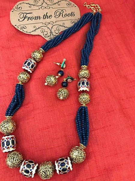 DESIGNER GHEROO NECKLACE WITH BLUE BEADS