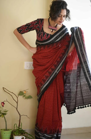 Brick Red  & Black Handloom Cotton Saree