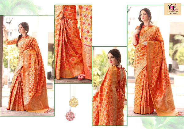 Orange and Mustard Yellow Combined Silk Saree with Zari Works.
