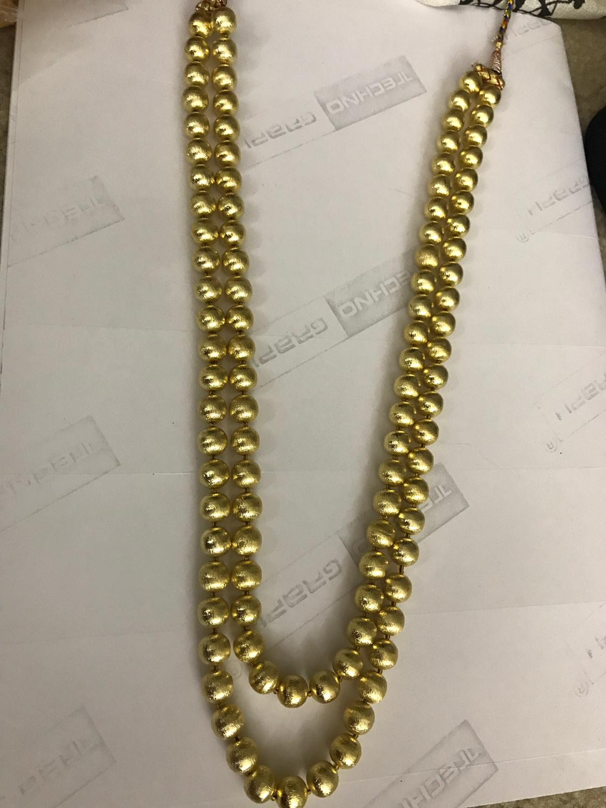 2 Layered Golden Color Pearl Studded Long Necklace
