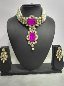 3 Layer Pearl Threaded Pink Stone Choker Necklace Set With Matching Leaf Shape Earrings