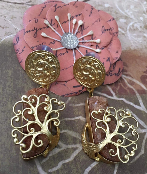 Antique Gold Colored Designer Earrings