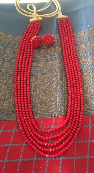 Red 5 Layer Garnet Set Necklace with Earrings