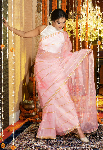 SOFT PINK TIE DYE SAREE WITH GOTA STRIPES AND BORDER